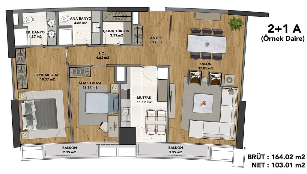 The floor plan of the skyscraper apartment in Istanbul on the Asian side.