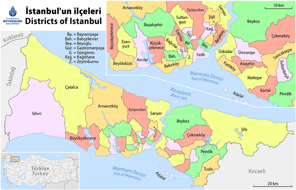 The map of the districts of Istanbul.