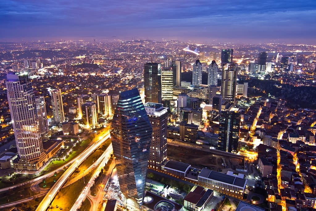 The Istanbul Sapphire view at night of Levent area.
