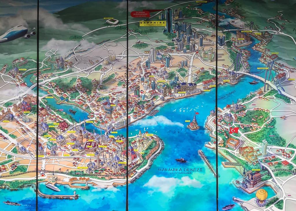 Kartta Istanbulista, jossa voit nähdä Istanbul Sapphiren sijainnin Euroopan puolella.