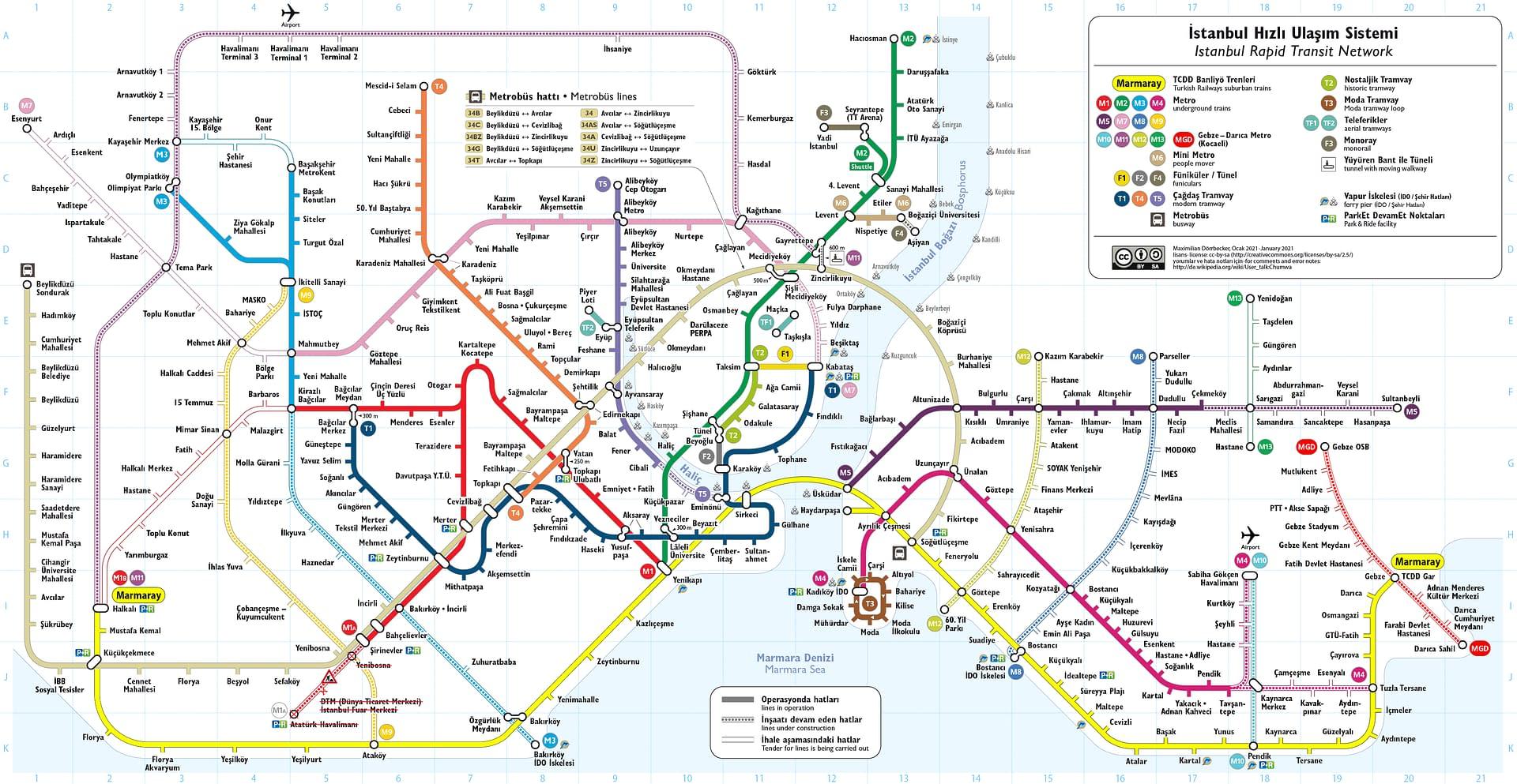 Istanbulin metro, metrobussi-, raitiovaunu- ja funikulaarikartat.