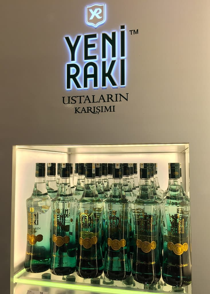 Anise-flavored Rakı, the informal national drink of Turkey, enjoyed with mezes. Istanbul Airport.