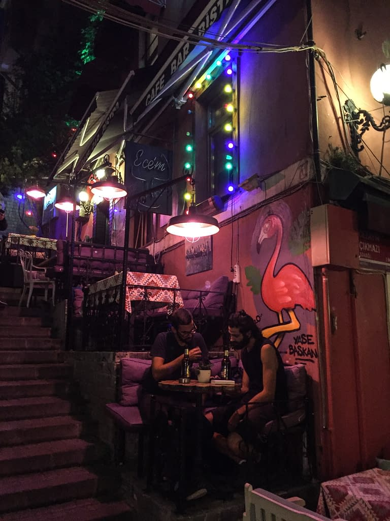 Nightlife of the colorful and lively Cezayir Street of Beyoğlu Istanbul.