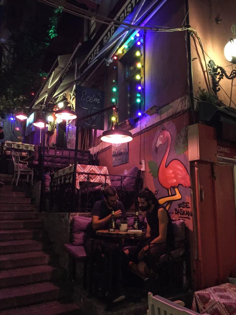 Atmospheric and steep Cezayir Street at night.