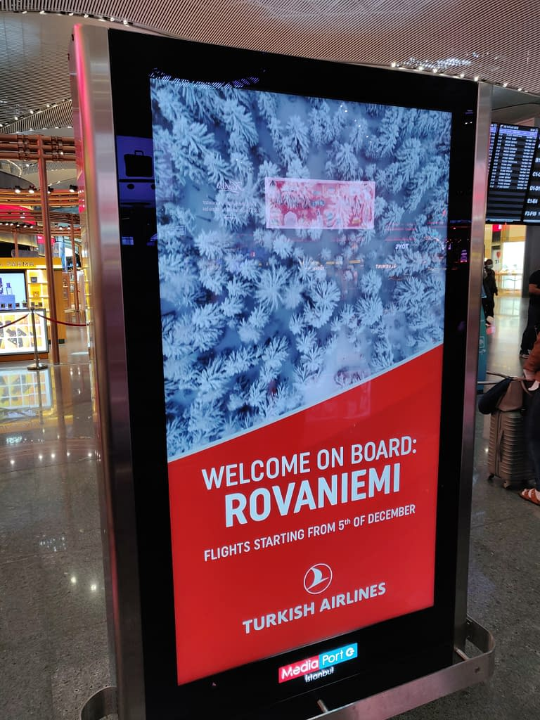 My home country Finland at Istanbul airport: Lapland and the city of Rovaniemi.