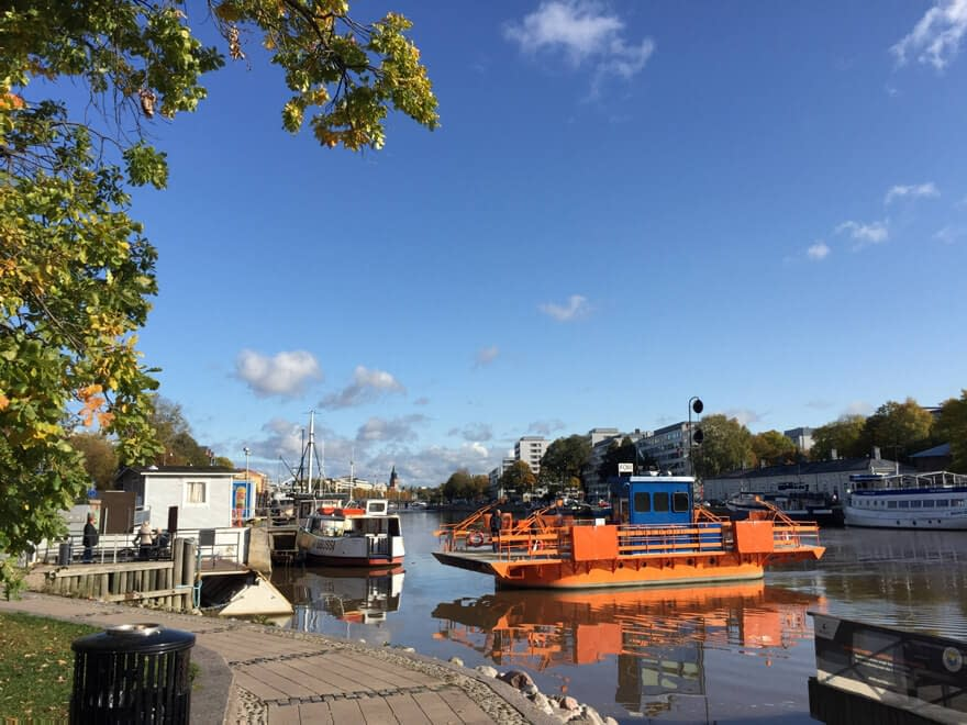 The ferry called Föri crossing Aura river in Turku