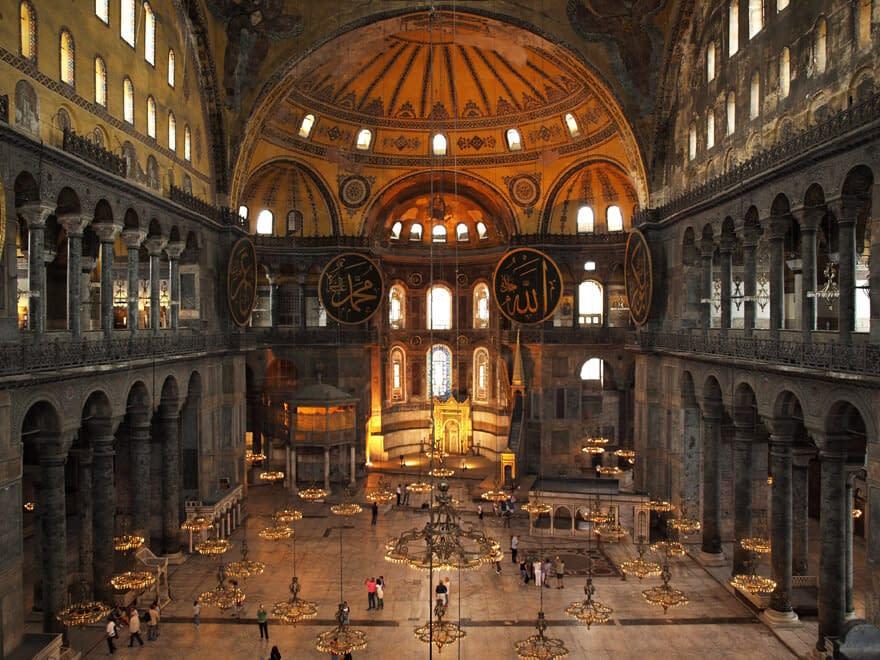 Interior of Hagia Sophia museum in Istanbul