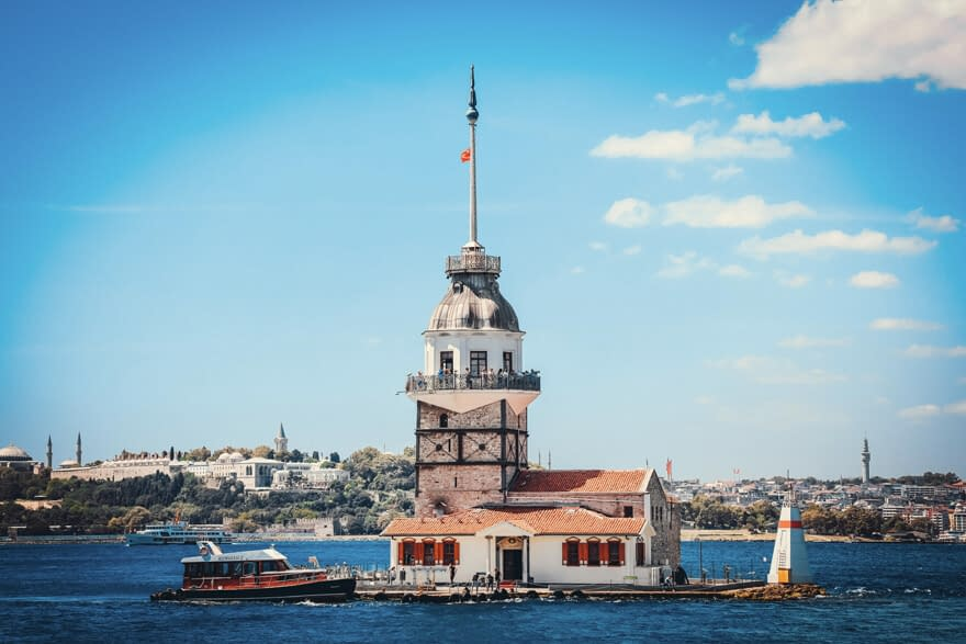 The famous touristic sight Maiden's tower in Istanbul in sunny day