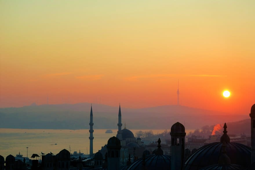 Orange sunset over the silhouette of Istanbul